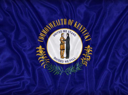 kentucky flag on fabric texture ...