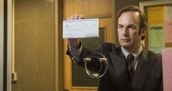 Bob Odenkirk as Saul Goodman - Better Call Saul _ Season 1, Episode 1 - Photo Credit: Ursula Coyote/AMC