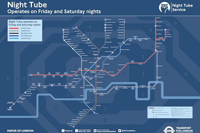 Transport for London 24 hour tube map
