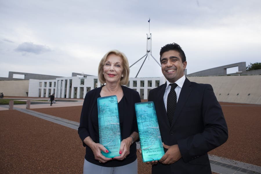 Australian of the Year Ita Buttrose and Young Australian of the Year Akram Azimi at the 2013 Australian...