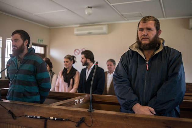 Pieter Doorewaard (L) and Philip Schutte (R), accused of murdering 16-year-old Moswi Matlhomala Moshoeu,...