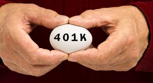 white egg with 401k written on...