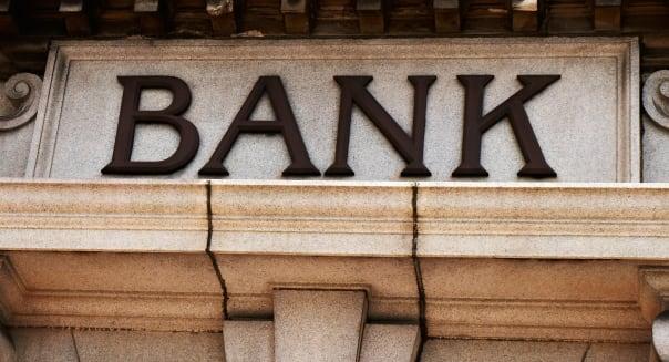 Bank sign above building entrance