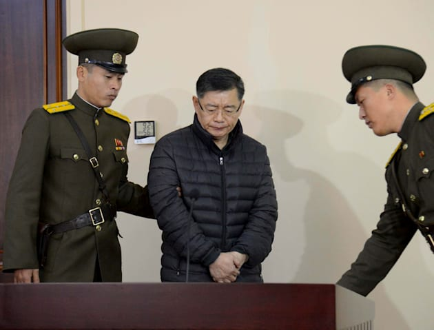 South Korea-born Canadian pastor Hyeon Soo Lim stands during his trial at a North Korean court in this...