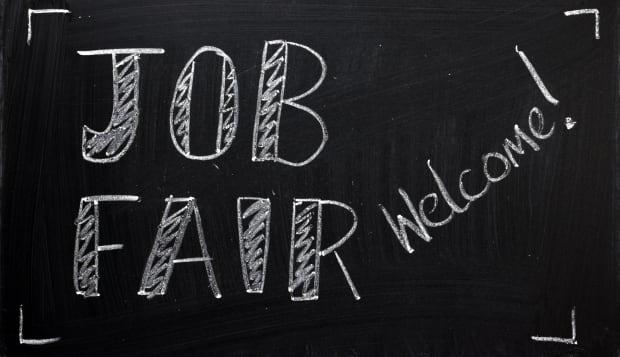 job fair welcome sign written...