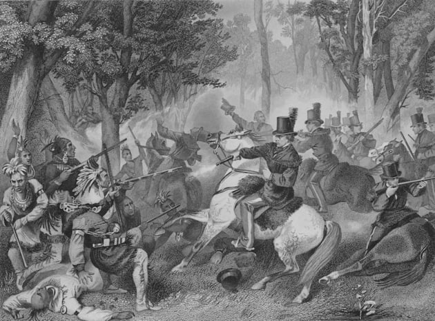 Engraved scene from the Battle of the
