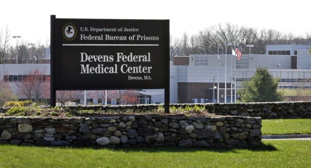 This Friday, April 26, 2013 photo shows the entrance of the Devens Federal Medical Center (FMC) in Devens, Mass.  The U.S. Marshals Service said Friday that Dzhokhar Tsarnaev, charged in the April 15, 2013 Boston Marathon bombing, had been moved from a Boston hospital to the federal medical center at Devens, about 40 miles west of the city. (AP Photo/Elise Amendola)