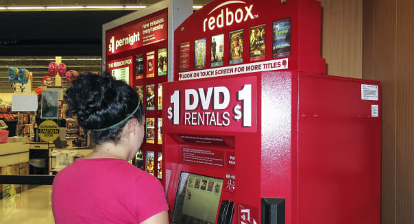 Redbox movie rental kiosk in a grocery store