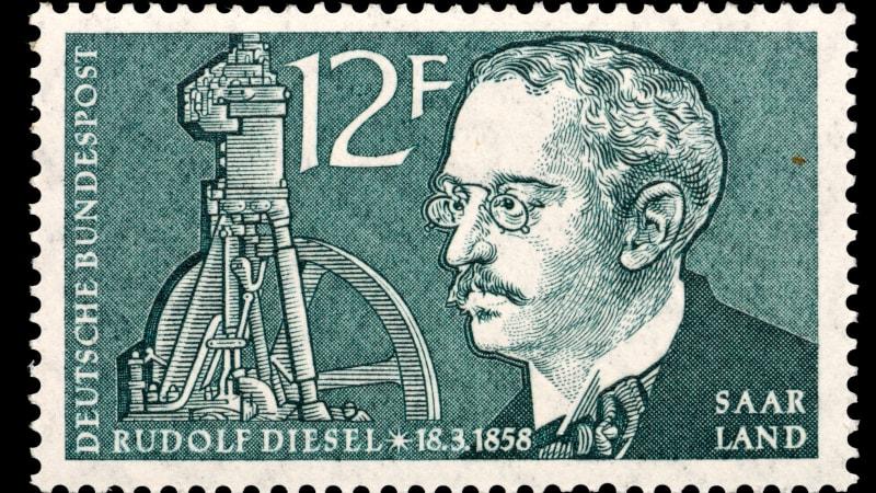 Saarland postage stamp - Rudolf Christian Karl Diesel (1858-1913) German inventor and engineer, inventor of the diesel engine.