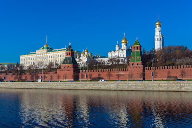 The embankment of the Moscow river with Kremlin, Russia