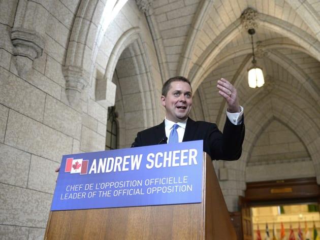 Conservative Leader Andrew Scheer speaks to reporters in Ottawa on June 21,