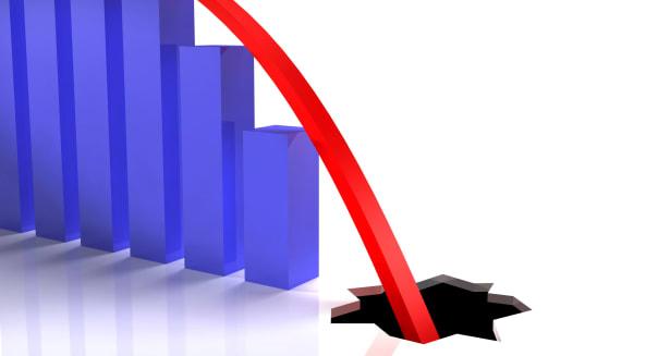 BE64ED Chart going through the floor. Economic crisis concept.. Image shot 2009. chart; downturn; economic; economics; crisis; r