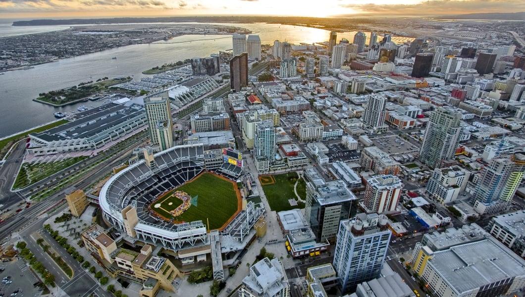 Aerial photo of San Diego at dusk.