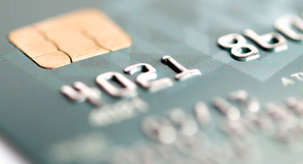 close up of credit card on a...
