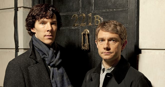 �Sherlock� � A fast-paced, witty take on the legendary Sherlock Holmes crime novels, now set in present day London and starring Benedict Cumberbatch (The Last Enemy) as the Baker Street sleuth and Martin Freeman (The Office UK) as his loyal sidekick Doctor Watson.Shown: Benedict Cumberbatch as Sherlock Holmes and Martin Freeman as Dr. Watson