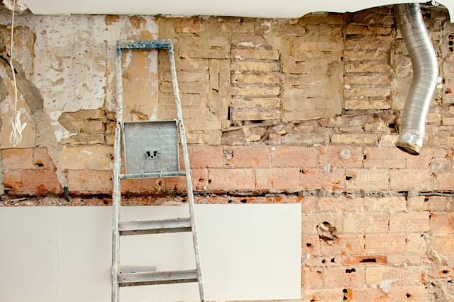 demolition debris in kitchen...