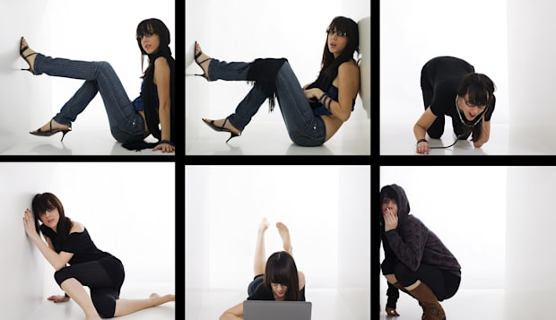 young woman in six boxes...