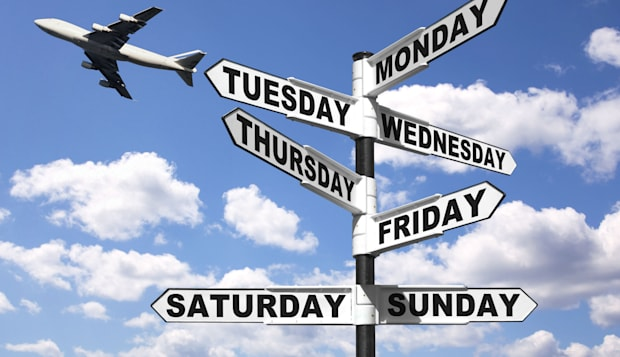 BMJ9H6 Signpost showing the seven days of the week  days; weekdays; sign; signpost; week; weekly; Monday; Tuesday; Wednesday; Th