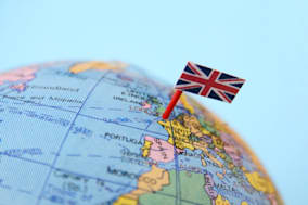 United Kingdom flag pointing London