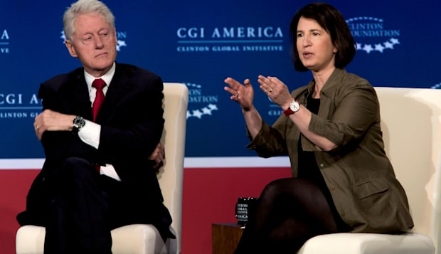 Denver, Colorado, USA. 24th June, 2014. BILL CLINTON listens as SARA HOROWITZ, Executive Director of the Freelancers Union, make