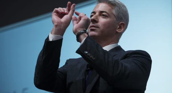 FILE PHOTO: William 'Bill' Ackman, founder and chief executive officer of Pershing Square Capital Management LP, speaks during a presentation in New York, U.S., on Thursday, Dec. 20, 2012. Ackman resigned from J.C. Penney Co.'s board after a public fight with his fellow directors, capping more than two years of agitating to remake the retailer that left him with a potential $700 million in losses on his stake in the department-store chain. Photographer: Scott Eells/Bloomberg via Getty Images
