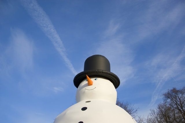 Inflatable snowman at Christmas carnival