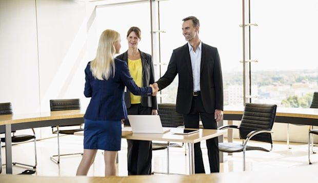 job interview with senior business team
