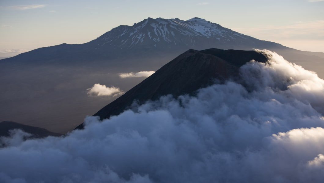 New Zealand, North Island, Mt. Ngauruhoe and Mt. Ruapehu, aerial view