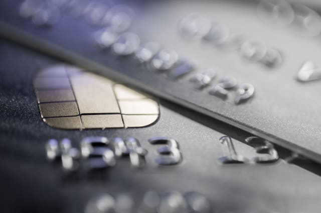 Close up of credit card security chip.