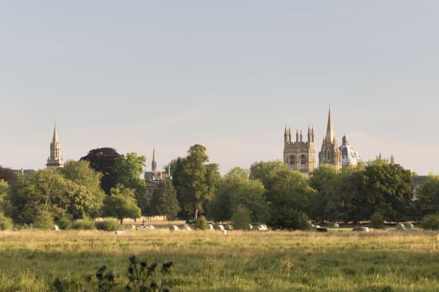 Oxford skyline landmarks from Christ Church Meadow