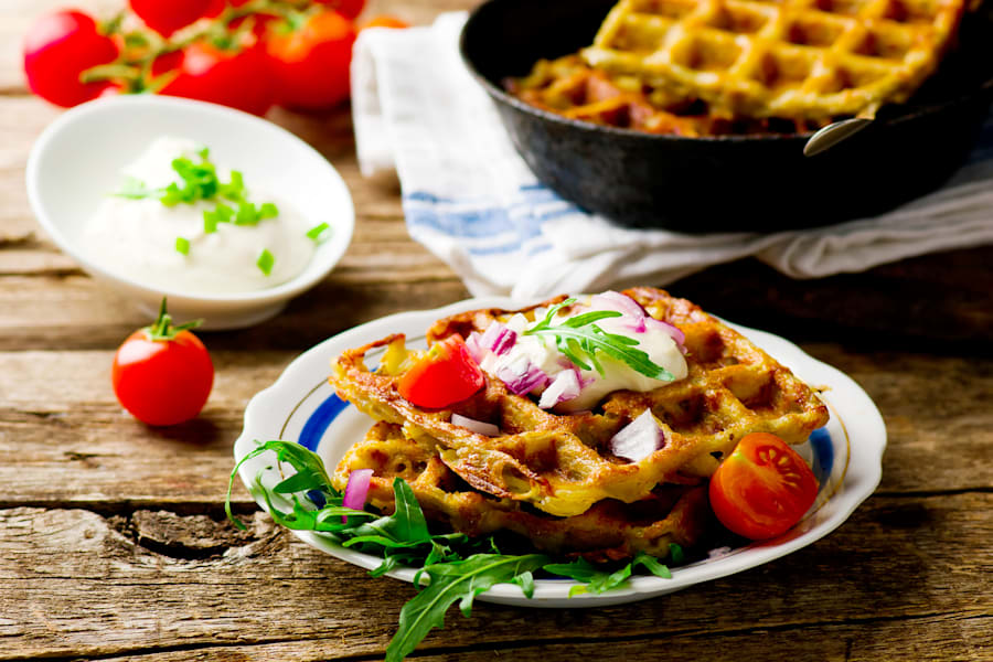 Go wild and top your potato waffle with whatever you