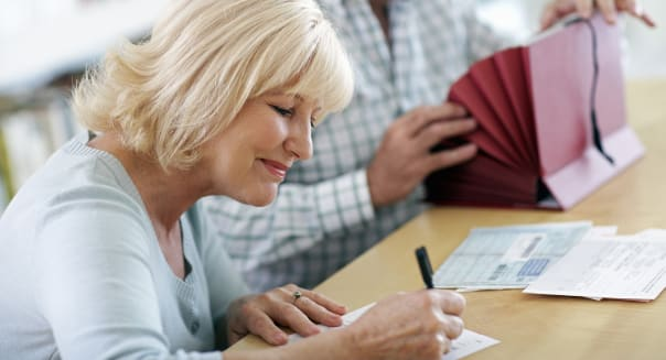 Senior Couple with Financial Documents