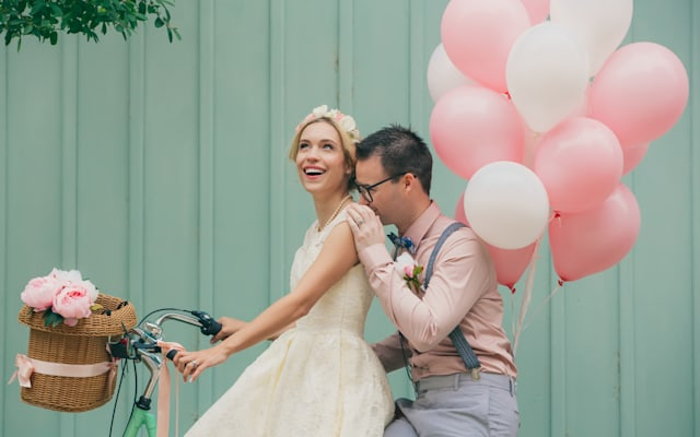 Happy couple at the wedding day, vintage style