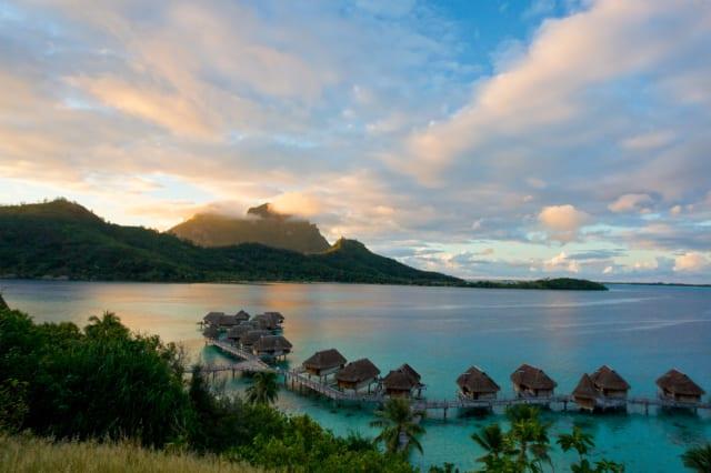 Sunrise in tropical south Pacfic island of bora bora, Tahiti, French Polynesia