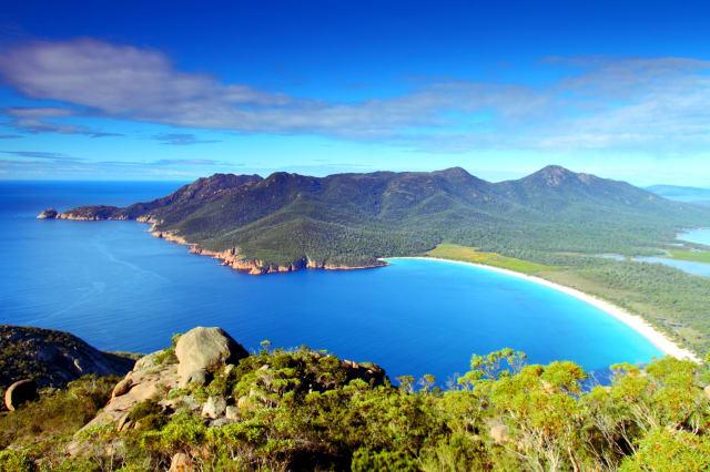 Landscape of Wine Glass bay, Tasmania, Australia.