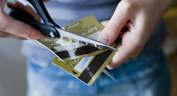 Two cut credit cards