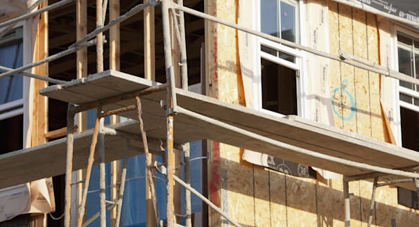 Close-up of residential structure under construction