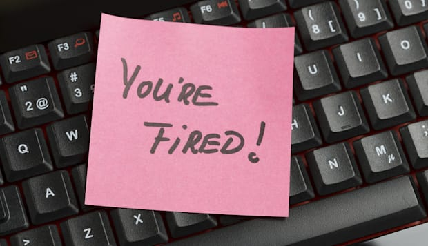 You are fired note on computer keyboard