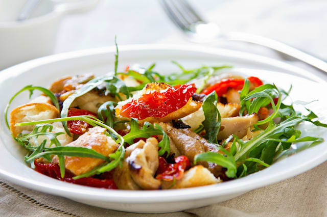 Chicken with sun dried tomato, rocket and crouton salad.