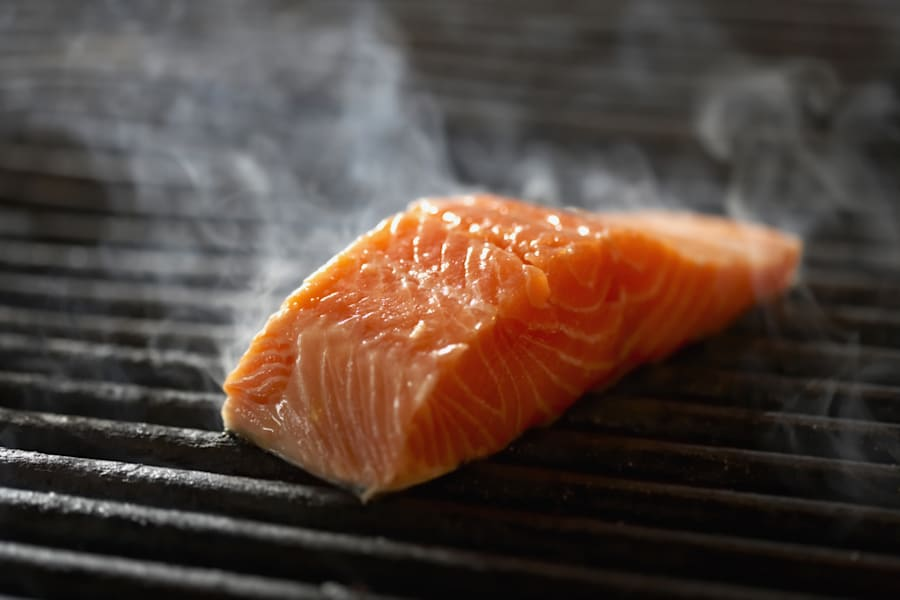 Salmon produces about half the greenhouse gas as