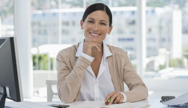 Portrait of a businesswoman smiling in an office