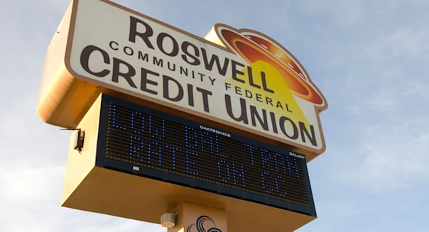 Roswell Community Federal Credit Union Sign New Mexico USA.