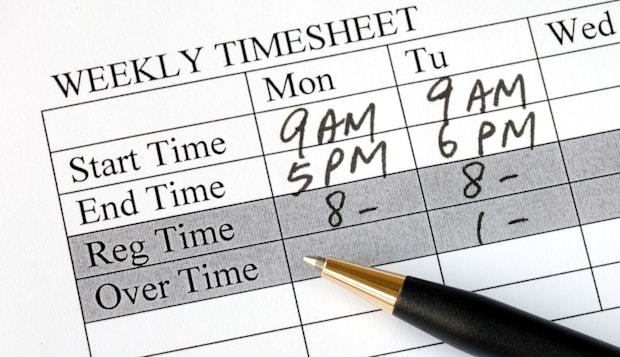 filling the weekly time sheet...