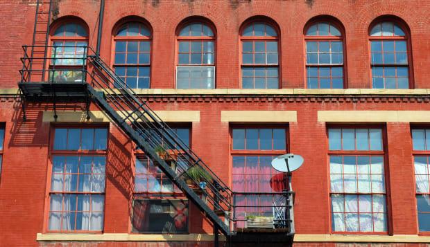 fire escape on red brick...