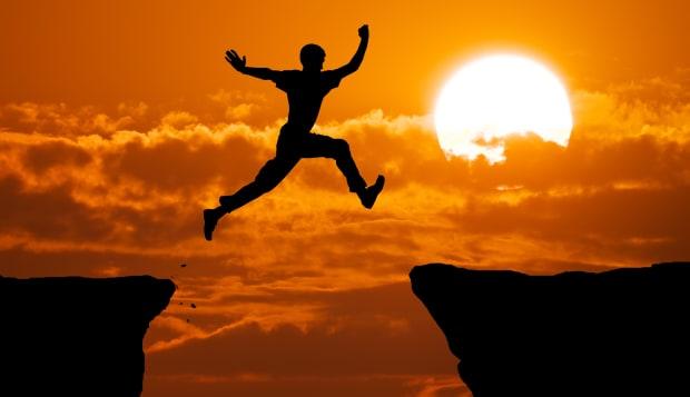 man jump through the gap....