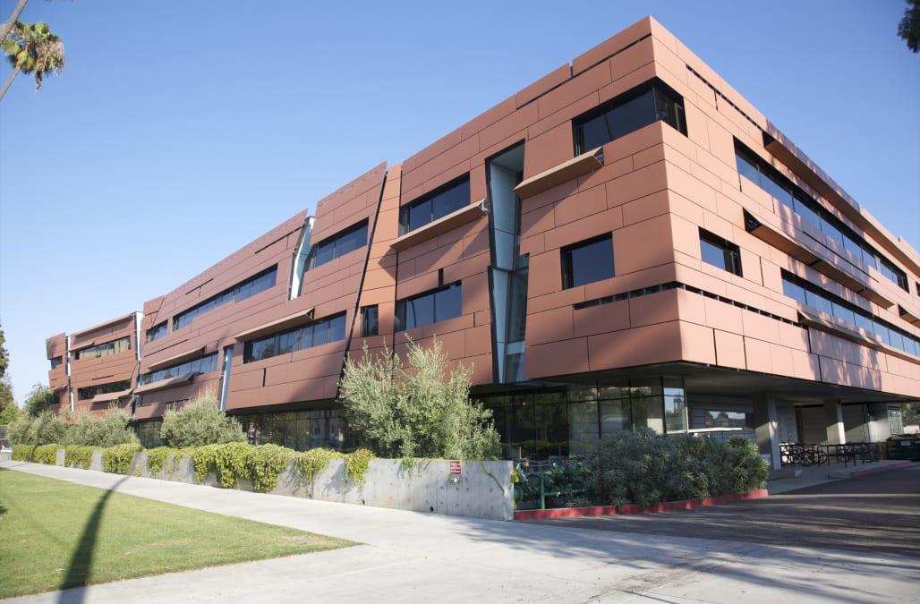 Orange multi-faceted building exterior