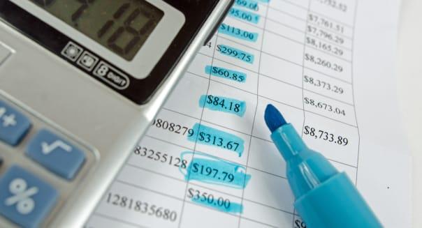 Calculator and bank account