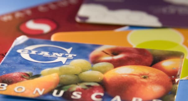 Grocery store membership cards Safeway club card  Giant Bonus Card  Bloom shopping card  and Bottom Dollar member card