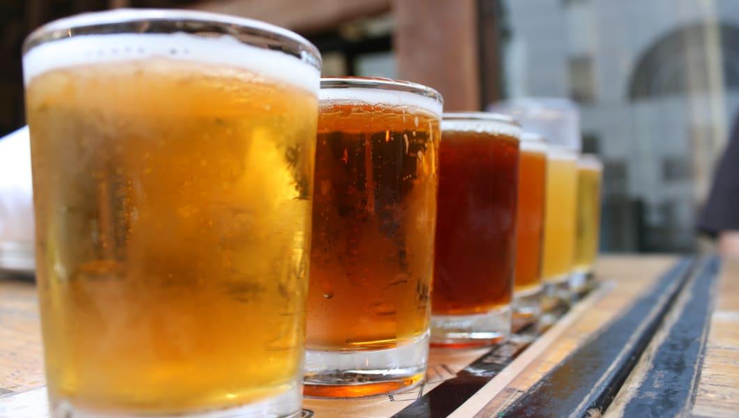 Beer sampler in downtown San Diego.