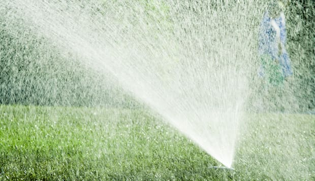 water spraying from a lawn...